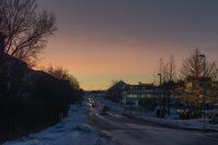 Soluppgång i Reykjavik Arkivfoton