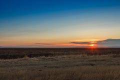 Soluppgång i stäpparna Arkivfoto