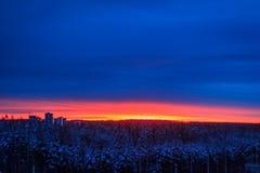 Soluppgång i staden av Petrozavodsk Royaltyfria Foton