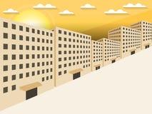 Soluppgång i staden Byggnader i perspektiv i 3D stock illustrationer