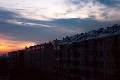 Soluppgång i vinter Fotografering för Bildbyråer