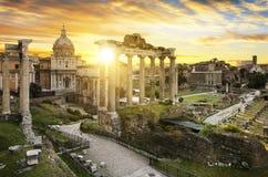 Soluppgång Italien för Rome stadsbu arkivbild
