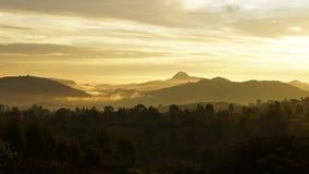Soluppgång Konso berg, Etiopien, Afrika Fotografering för Bildbyråer