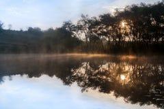Soluppgång misten över sjön Arkivfoto
