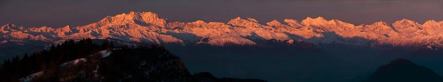 Soluppgång Monte Rosa Fotografering för Bildbyråer