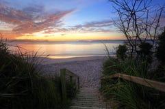 Soluppgång Nelson Beach Jervis Bay Australia Arkivfoton