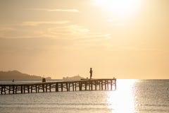 Soluppgång på Alcudia, Spanien Fotografering för Bildbyråer