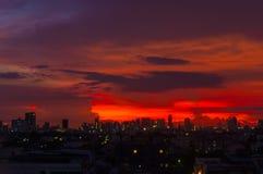 Soluppgång på Bangkok, huvudstad av Thailand Arkivfoton