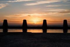Soluppgång på Brighton Beach Royaltyfri Fotografi