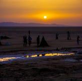 Soluppgång på Chott el Djerid Arkivfoto