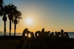 Soluppgång på den Malagueta stranden i Spanien Fotografering för Bildbyråer