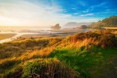 Soluppgång på den Oregon kusten Fotografering för Bildbyråer