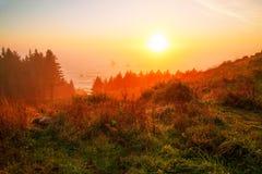 Soluppgång på den Oregon kusten Arkivfoto