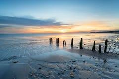Soluppgång på den Sandsend stranden i Yorkshire royaltyfria foton