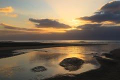 Soluppgång på Fuerteventura, kanariefågelöar, Spanien Royaltyfri Bild