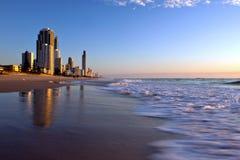 Soluppgång på Gold Coast Australien Arkivbilder