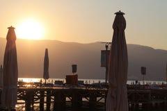 Soluppgång på hamnen Royaltyfria Bilder