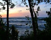 Soluppgång på horisonten till och med träden Royaltyfria Bilder