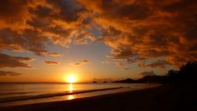 Soluppgång på Kalama - Kailua, Hawai'i Arkivfoton