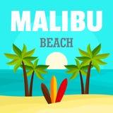 Soluppgång på malibu strandbakgrund, lägenhetstil stock illustrationer