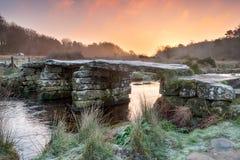 Soluppgång på Postbridge Arkivbilder