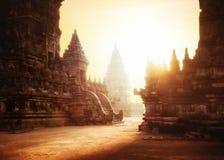 Soluppgång på Prambanan den hinduiska templet Java Indonesien royaltyfri fotografi