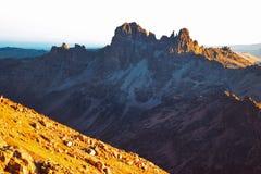 Soluppgång på punkt Lenana, Mount Kenya Fotografering för Bildbyråer