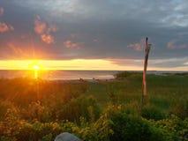 Soluppgång på sjön 2 Fotografering för Bildbyråer