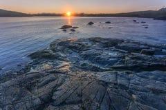 soluppgång på St Anthony, Newfoundland Arkivfoton