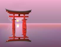 Soluppgång på Torii portar Arkivbilder