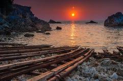 Soluppgång på Tyulenovo, Bulgarien Fotografering för Bildbyråer