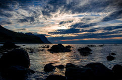 Soluppgång på Westfjords Royaltyfria Foton