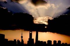 Soluppgång shanghai Arkivbilder