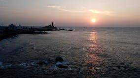 Soluppgång solnedgång, uddecomorin, Kanyakumari, Tamilnadu Royaltyfria Foton