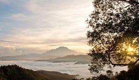 Soluppgång som bakifrån kikar ett träd med berget och havet av clouen Fotografering för Bildbyråer