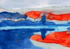Soluppgång som blödas över i Slovenien - målning för vattenfärg arkivbild