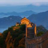 Soluppgång som jinshanling den stora väggen Royaltyfri Fotografi