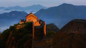 Soluppgång som jinshanling den stora väggen Royaltyfri Bild