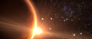 Soluppgång som ses från utrymme på venus arkivfoto