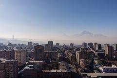 Soluppgång Yerevan stad, Armenien arkivbild