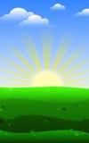 Soluppgångfält Royaltyfri Bild