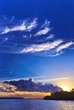Soluppgånglandskap för blå himmel Royaltyfria Bilder