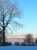Soluppgånglandskap med månen Royaltyfria Bilder
