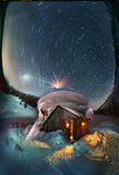 Soluppgångmåne av den stjärnklara himlen för natt Arkivbild