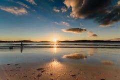 SoluppgångSeascape med reflexioner, Silhouetttes och Sunburst arkivfoto