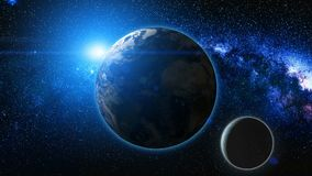Soluppgångsikt från utrymme på den planetjord och månen Royaltyfri Fotografi