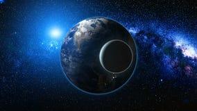 Soluppgångsikt från utrymme på den planetjord och månen Royaltyfri Bild