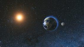 Soluppgångsikt från utrymme på den planetjord och månen Royaltyfri Foto