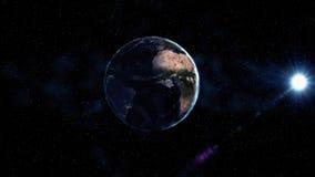 Soluppgångsikt från utrymme på planetjord Sydamerika zon Värld i svart universum i stjärnor Höga detaljerade 3D framför animering Royaltyfria Bilder