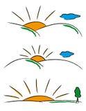 Soluppgångtema vektor illustrationer